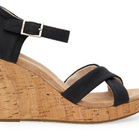 TOMS Black Canvas Cork Women's Strappy Wedges Black