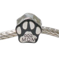 European charm metal bead DOG MOM paw bead