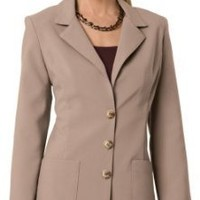 Amazon.com: Collections Etc - Classic Notch Collar 3 Button Blazer Womens Camel 26W 26W Camel: Clothing