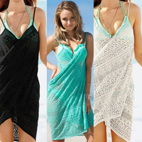 Floral Lace Wrapped Beach Cover-Up