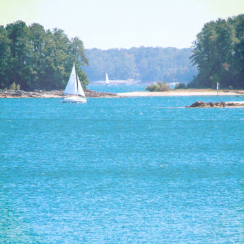 Nautical Photography - Summer Sailboat on Lake - Peaceful Blue Water, Lush Green Woods - Lake House Decor  - Wall Art Print