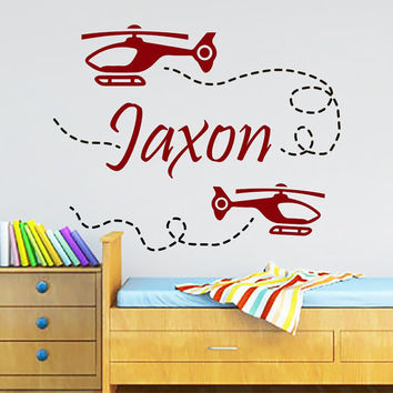 Nursery Wall Decals Personalized Name Decal  Baby Boy Bedroom Room Plane Airplane  Vinyl Sticker Home Decor Murals MA281