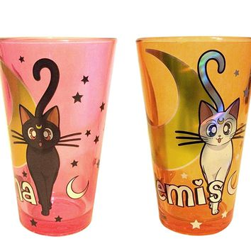 2-Pack 16oz OFFICIAL Sailor Moon PREMIUM Foil Printed Luna and Artemis Pint Glass
