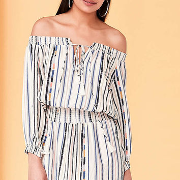 ASTR Blair Off-The-Shoulder Blouson Mini Dress - Urban Outfitters