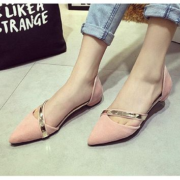 2017 New Fashion Autumn Ladies Flats High Quality Casual Metal Shoes Women Flat Heels soft Leather Pointed Toe Flat Women Shoes