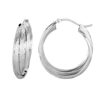 Silver with Rhodium Finish 8.8x25.6mm Wood Finish  with Shimmer 3 Row X Type Fancy Round Hoop Earring with Hinged Clasp