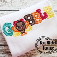Gobble Turkey Applique Thanksgiving shirt for Infants & Toddlers