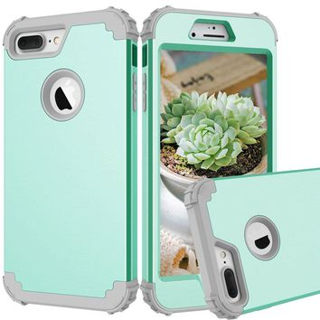 iPhone 7 plus 8 plus Case High Impact - JAZ 2017 Dual Layer Hybrid Heavy Duty Shockproof Anti-Scratch Full-Body Protective Cover For iPhone 7Plus/8Plus (green)