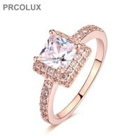 PRCOLUX Fashion Band Female Princess Cut Ring Rose Gold Color jewelry White CZ Wedding Engagement Rings For Women Gifts QFA02