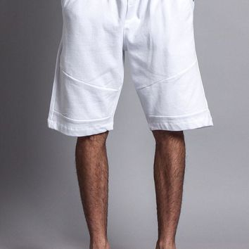Athletic Solid Color Cotton Sweat Shorts With Zipper Pockets 17191-1588 - DD1C