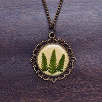 Forest Fern Necklace, Resin Jewelry, Plant Necklace, Botanical