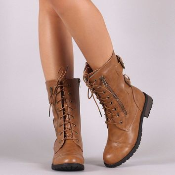 Buckle And Zipper Lace-Up Combat Mid-Calf Boots