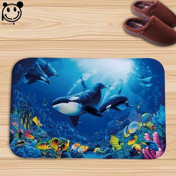 Autumn Fall welcome door mat doormat PEIYAUN Blue Ocean Series Killer Whale and Shark Flannel Factory Custom Made Floor Mat Carpets  AT_76_7