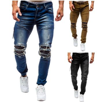 TREVOR LEIDEN Ripped Jeans for Men Skinny Distressed Slim Famous Brand Designer Biker Stretch Jeans  Homme Kanye Men's Clothing