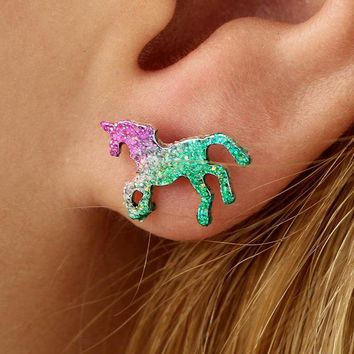 ac spbest VAROLEV Colorful Horse Stud Earrings for Women Cute Shining Animal Earring Unicorn Earrings Party Gifts Accessories 4491
