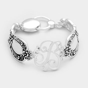 B Antique Metal Spoon Handle Monogram Magnetic Bracelet