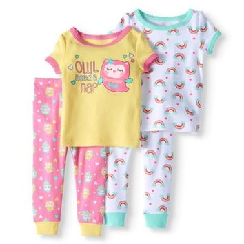 Baby Girl Short Sleeve Cotton Tight Fit Pajamas, 4pc Set - Walmart.com
