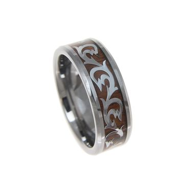 Men's Tungsten Carbide Ring With Real Hawaiian Koa Wood Inlay Shiny Scroll - 8mm