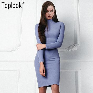 Toplook Blue Knitted Vintage Dress 2017 New Women's Autumn and Winter Bodycon vestidos Long Sleeve Turtleneck Fitness Dresses