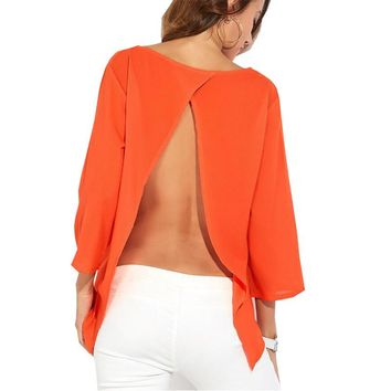 Women Shirts Blusa Chiffon Summer Sexy Back Hollow Out Black Orange Women Blouses Office Ladies Tops