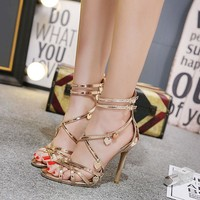 BaiBeiQi Gladiator Style women's high heels sandals Narrow Band ladies celebrity Concise Buckle Strap shoes woman US5-9