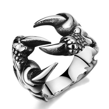2017 New Rock Punk Male Biker Rings Stainless Steel Dragon Claw Rings For Men Vintage Gothic