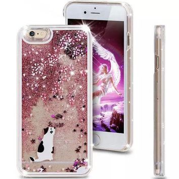 PEAPUNT Liquid Glitter Phone Case for Iphone 5 5S (White Kitty)