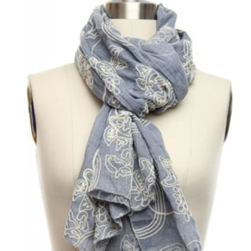 Embroidered Denim Blue Wash Scarf