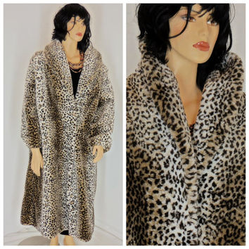 Faux fur leopard coat, sze 2X, full length, plush,satin lined by Monterey Fashion, made in USA