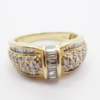 14k Gold Channel Set Diamond Band Cocktail Ring 1 carat size 7.75