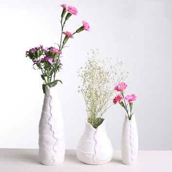 Creative style Lotus leaf ceramic flower vase Simple style desktop decorative vase household decorative accessories
