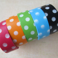 Washi Tape - Five Rolls - Multicolor Polka Dot Mix