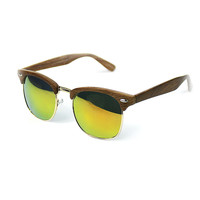 Wooden Clubmaster Sunglasses-Yellow