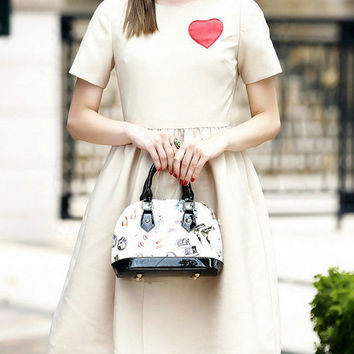 Off White High Waist Heart Shaped Embroidered Casual Dress