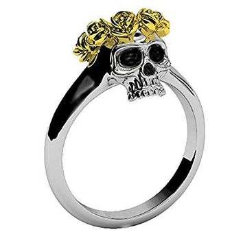 EVBEA Gothic Jewelry for Women Two Tone Dainty Skull Band with Unique Gold Rose Crown Rings