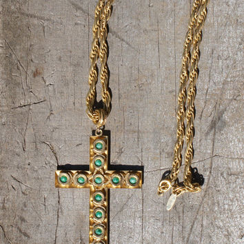 1970's, Whiting and Davis, Gold, Turquoise Cross Necklace