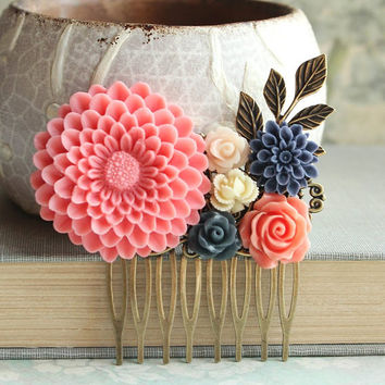 Coral Dahlia Comb Navy Blue Floral Comb Spring Wedding Colorful Flower Hair Comb Bridesmaids Hair Accessories Bridal Hair Piece Pink Coral