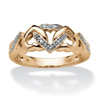 Diamond Accent Interlocking Hearts Ring in 18k Gold over Sterling Silver