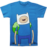 Adventure Time Men's  Large Finn T-shirt Blue