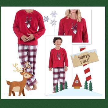 Matching Family Christmas Pajamas Holiday Reindeer Plaid Sleepwear