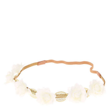 Claire's Girl's Leaf Flower Headwrap in Cream/Gold.