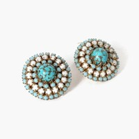 Vintage 60s Alice Caviness EARRINGS / 1960s Signed Matrix Faux Turquoise Domed Clip-Ons