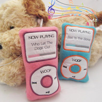 MPaw3 Pup - Fleece Dog Toy in Pink/ Blue, MP3 Device, Embroidered w/'Bad to the Bone' or 'Who Let the Dogs Out', No Squeaker - Great Gift!