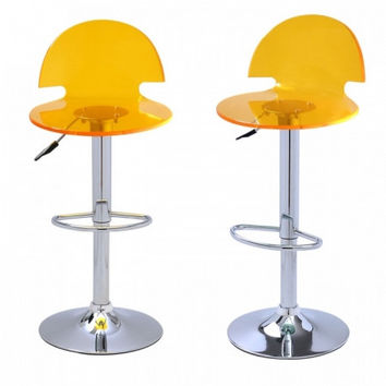 Joveco Clear Transparent Acrylic Hydraulic Lift Adjustable Counter Bar Stool Dining Chair - Set of 2 (Yellow)