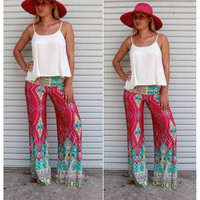 High Waist Flower Print Retro Wide Legs Straight Pants