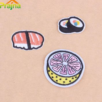 ZOTOONE Foods Salmon Sushi Embroidered Patch Thermocollants Vetement Bordad Cartoon Iron On Patches Clothing Stripe Flamingo C1