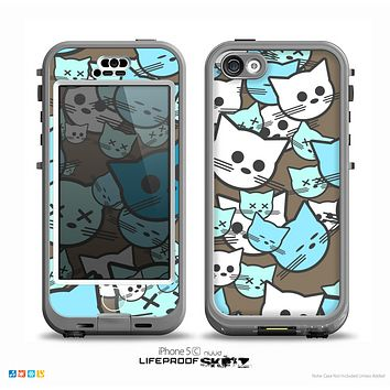 The Blue and Pink Vector Faced Cats Skin for the iPhone 5c nüüd LifeProof Case