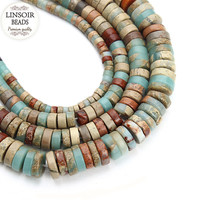 LINSOIR 4 6 8 10 mm Oblate Natural Stone Beads For Jewelry Making Loose Spacer Beads Fit Diy Necklace Bracelet Findings F3678