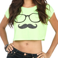 Nerdy Stache Crop Tee | Shop Just Arrived at Wet Seal