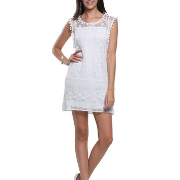 White Crochet Lace Pom Pom Trim Sleeveless Shift Dress